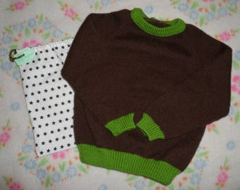 6/7, Brown and green, knitted PULLOVER for kids