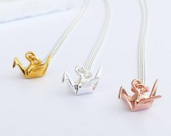 Sterling Silver Origami Crane Necklace - Cute Origami Crane, Sterling Silver Crane Charm Necklace , Origami Bird Pendant, Origami Necklace