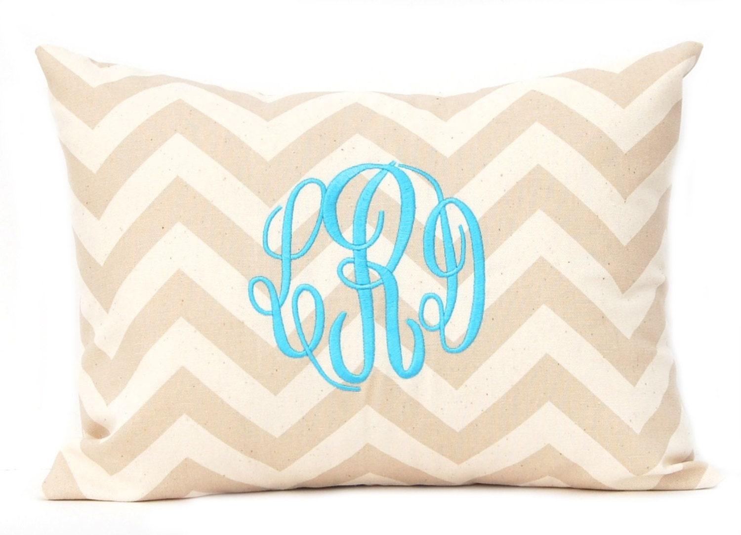 Monogram Pillow Cover Tan Chevron Pillow Cover with Script