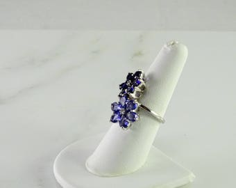 Dark/ Light Purple Floral Statement Ring Size 7 Sterling