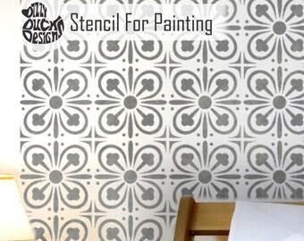 YORK Tile Stencil - Medieval Victorian Mediterranean Wall Furniture Craft Floor Tile Stencil for Painting - YORK01