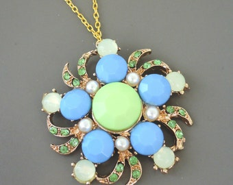 Vintage Inspired Necklace - Crystal Necklace - Blue Necklace - Green Necklace - Gold Necklace - Flower Necklace - Chloes Handmade Jewelry