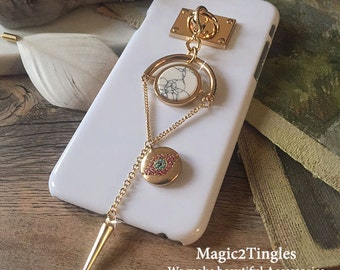 """Glamorous Classic Gold Hook with Unique Chain For iPhone 6s - 4.7"""" Marble Stone Crytal Evil Eye Spike Triangle Rectangular Cone Geometry"""
