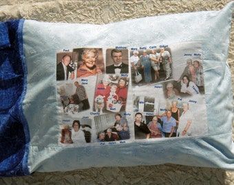 """PHOTO PILLOWCASE - TWO Photo Fabric Collages attached with up to 8 photos on each collage - 16""""x10.5"""" - Standard Size Pillow Case - Washable"""
