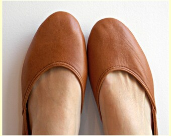MAYA - Ballet Flats - Leather Shoes-39-Tobacco brown. Available in different colours & sizes