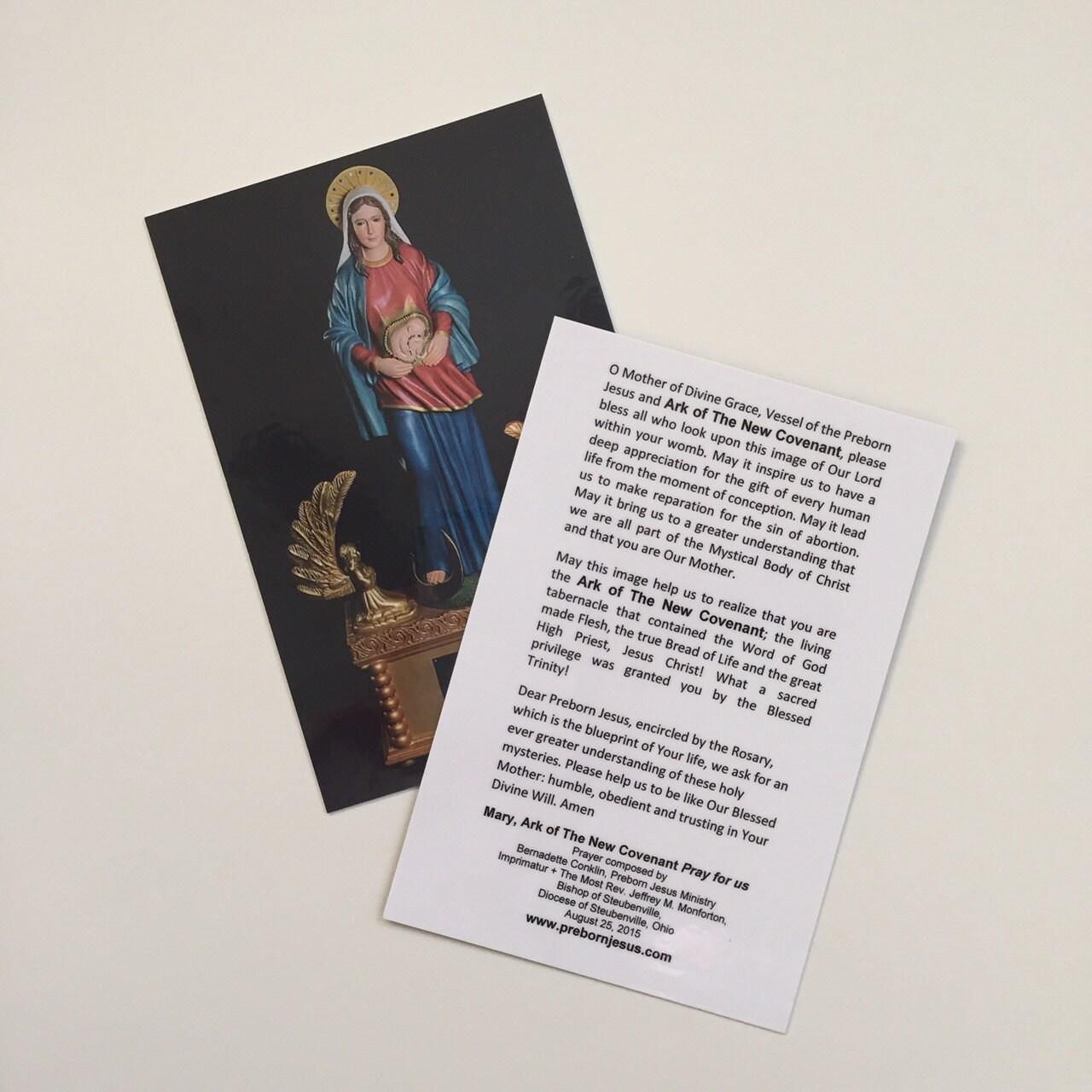 Gebet-Karte der neue Bund mit Imprimatur-Mary Arche
