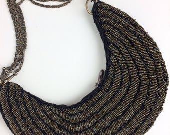 Black Sequins Crescent Shaped Shoulder Bag/ Beaded Bag