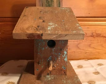 Wide top rustic bird house made from reclaimed wood