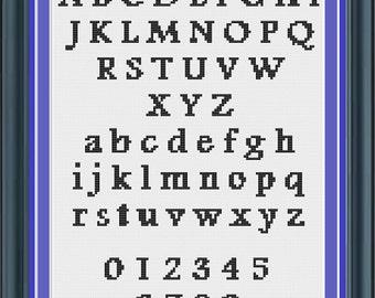 Cross Stitch Alphabet Pattern Traditional Style Font (LG0004)