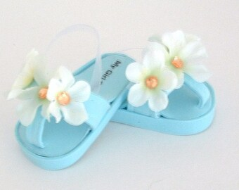 Blue Flowered Flip Flops