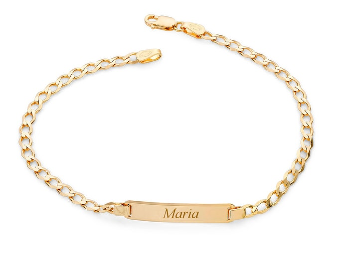 """Ladies 9ct Yellow Gold 7"""" Curb Chain Identity Bracelet - Personalised Engraved Name"""