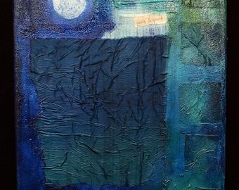 Mixed Media Painting - Moonlight Study in Blue, Original, Newlyn, Penzance, Cornwall