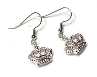 Royal Crown Charm Earrings -ZTA - Zeta Tau Alpha - Small Princess Crown Jewelry - Clip on, Leverback, Hook, 925 sterling silver available