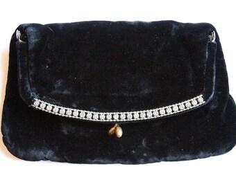 Vintage Handbags by G.D.K. Black Velvet Clutch with Rhinestone detail