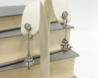 Vintage Rhinestone Drop Clip On Earrings