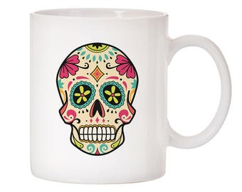 Sugar Skull Inspired Design Ceramic Coffee Mug 11oz White OR Silver!