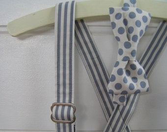 Boys bow tie and suspender set - formal, party, spots, stripes