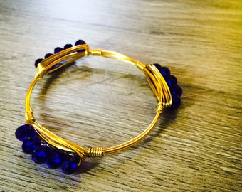 Blue faceted rondelle wire wrapped bangle
