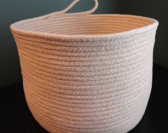 Extra Large Decorative Natural Coiled Rope Basket with handle