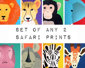 Jungle Animal Nursery Prints for baby & child. SET of ANY 2 prints of jungle zoo animals for kids rooms and playrooms