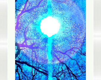 "Original Hand Signed Abstract ""Restored Faith"" Canvas & Paper Limited Edition  Spiritual Blue Colors Artist Brent Wickes"
