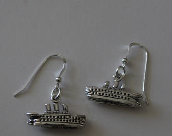 Sterling Silver 3D CRUISESHIP Earrings - Cruise, Vacation