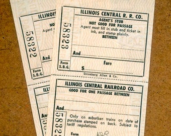 Vintage Railway Tickets - Blank - Illinois Central Railroad