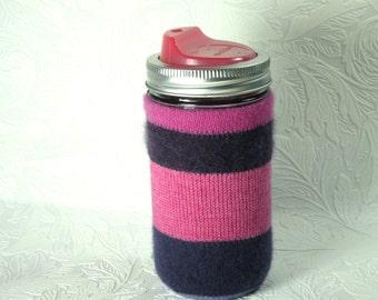 Jar Cozy - 3/4 pint size - stripes - pink