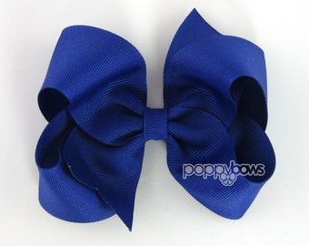 Royal Blue Hairbow - 4 Inch Boutique Hair Bow - Baby Toddler Girl - Solid Color Basic Hairbows
