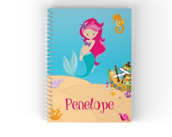 Mermaid Personalized Notebook - Mermaid Sea Floor Shells Ship with Name, Customized Spiral Notebook Back to School