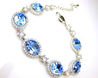 bridesmaid jewelry bracelet bridal wedding jewelry christmas prom gift swarovski rhinestone oval halo light sapphire blue cubic zirconia