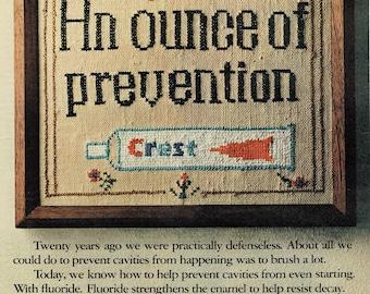 1972 Advertisement Crest Toothpaste Needlepoint Embroidery Sampler Ounce Prevention Fluoride Bathroom Dentist Hygiene Dental Wall Art Decor