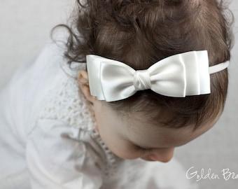 Girl Headbands, Baby Headbands, Hair bands, Flower Girl Headband, Headband, Newborn Headbands - Ella White Bow or Clip - Golden Beam