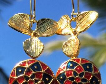 18K gold plated flower with Enamel on brass ( Meenakari) earrings