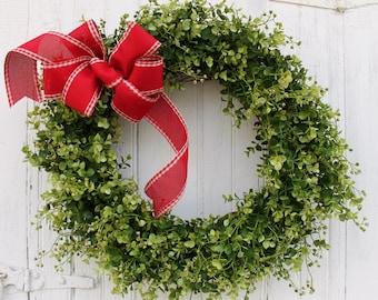 Christmas Wreath, Boxwood Wreath, Holiday Wreath, Farmhouse Decor, Front Door Wreath, Green Wreath, Outdoor Wreath, Year Round Wreath