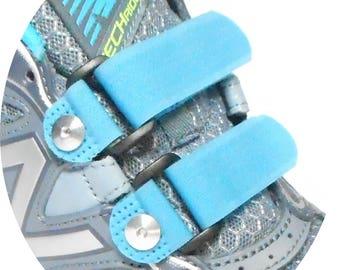 No-Tie Shoelaces Replace-A-Lace Hook & Loop Straps To Replace Shoe Laces - Turquoise- Sz Medium