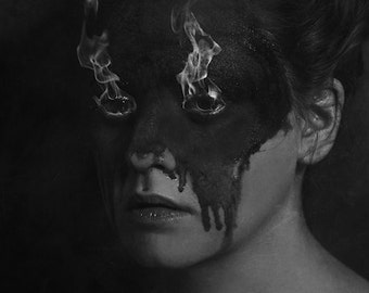 A Flare Up FREE SHIPPING Surreal Photo Print Black & White Portrait Face Fire coming out of girls eyes Dark Art Melting Burning Creepy art