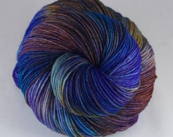 Hand Dyed Sock Yarn 100% superwash extrafine merino, hand dyed wool, tonal sock yarn, blue, orange