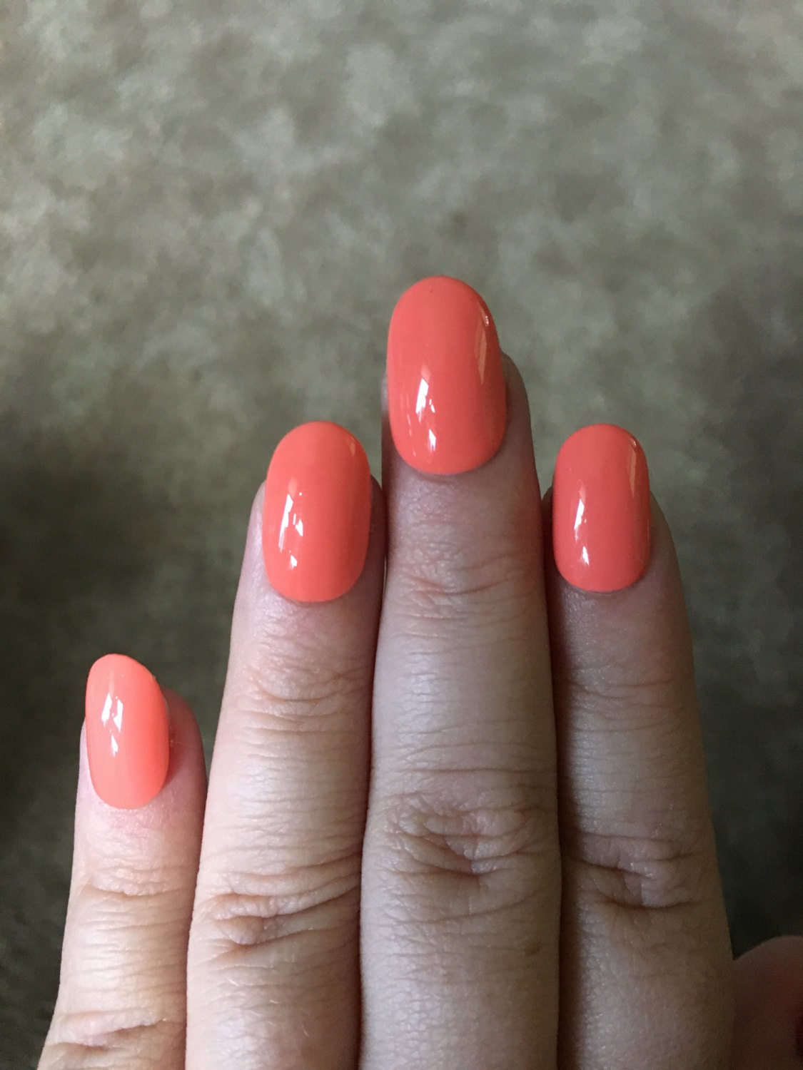 Coral/Pink Fake Nails | Press On | Glue On Nails | Different Shapes ...