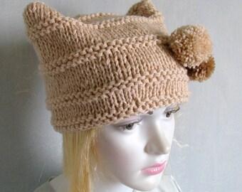 Black cat hat, kitty ear beanie, gothic hat, ear hat, cat beanie, cat cap women's knit hat, new style hats square cap Goth Hat Hallowen Hat