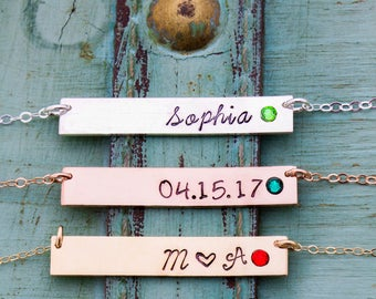 Best Friend Mother's Day Gift Birthstone Bar Necklace • Initial Bar Gift Handstamped Name Bar Crystal Necklace • Birthstone Mom Gift • BS_18
