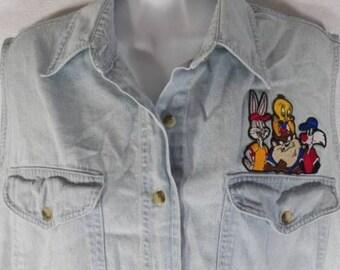 Vtg Denim Jean Looney Tunes M Sleeveless Shirt Sports Tweety Bugs Taz Sylvester