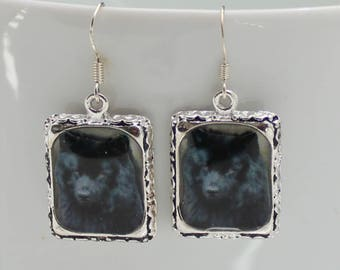 Black Finnish Laphund Dog Puppy Picture Earrings 3D Dimensional Silver