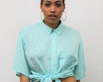 1980s Mint Green Silky Oversized Shirt Size UK 14, US 10, EU 42