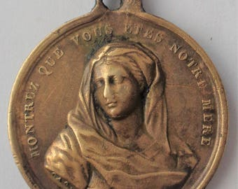Rare Old Religious Medal Virgin Mary Signed Vachette