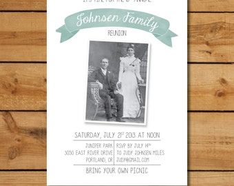 Family Reunion Invitations - Vintage Family Photo