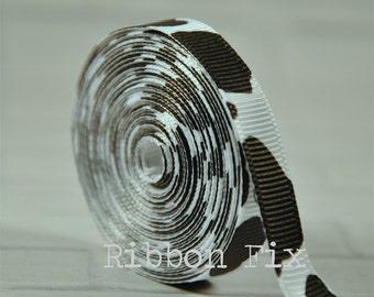 "100 yard roll 3/8"" White Cow Spot Grosgrain Ribbon - US Designer Print - Baby Shower - Farm Animal - Barn - Rodeo Bows - Cowboy - Dog Collar"