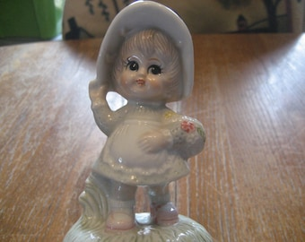 Vintage Porcelain Music Box, Revolving Flower Girl Figurine