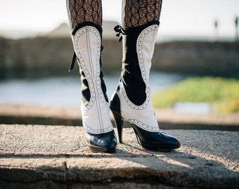 Spats - Black wool and white leather, Spectator styling