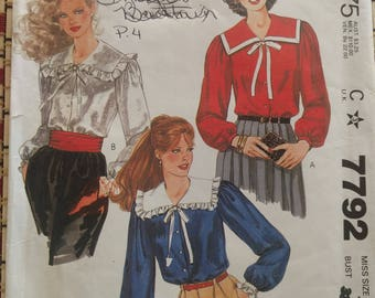 McCall's Misses' Blouse Pattern 7792,  Blouse sewing Pattern